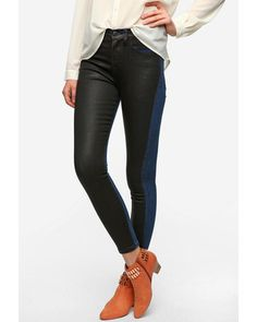 two tone leather look jean