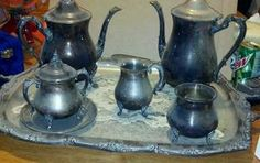 Silver tea set with serving tray | eBay
