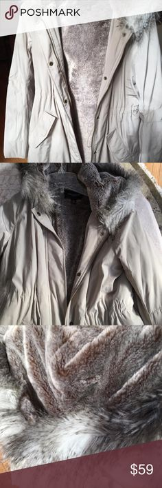 Ann Taylor faux fur parka jacket Drawstring waist. Water repellant nylon. Worn 2xs. Tag not attached. Ann Taylor Jackets & Coats