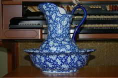 Victoriaware Ironstone Calico Chintz pitcher and wash bowl basin set Flow Blue #Victoriaware