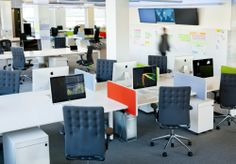 Open Plan Office with color point #openplanoffice Cubicles.com