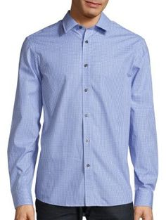MICHAEL KORS Tailored-Fit Check Gingham Shirt. #michaelkors #cloth #shirt
