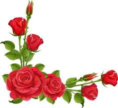 Rose Border Clipart Beautiful Red Rose With Green Leaf Corner Border Design For Eid Card Flower Picture Frames, Flower Frame, Flower Art, Flower Png Images, Flower Pictures, Boarders And Frames, Transparent Flowers, Beautiful Red Roses, Clip Art
