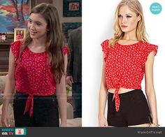 Riley's red floral tie front top on Girl Meets World.  Outfit Details: http://wornontv.net/51636/ #GirlMeetsWorld