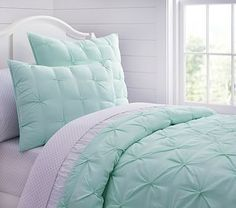 Audrey Quilted Bedding #pbkids  Comes in Purple too for a purple/turquoise room