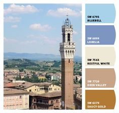 "We can almost feel the Tuscan sun with this warm color palette inspired by the beauty of the Torre del Mangia and its surroundings in Siena, Italy! We'd say ""Benvenuto!"" to these @Sherwin-Williams colors anyday!"