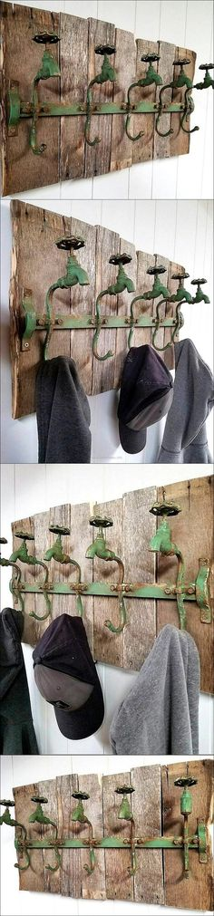 Hanging the clothes and caps on the hooks directly pinned on the walls looks weird, but you can make it look good by using the recycled wooden pallets. Pin the hooks on the pallets and attach it to the wall, you will get a rustic hanger for hanging the clothes.