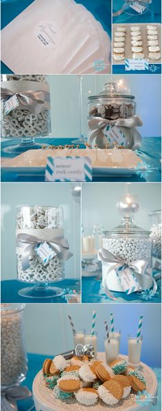 The glass jars with gray ribbon --could be used for a variety of things