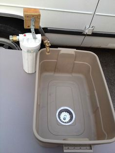Super Cheap, Lightweight, Full Size camping Sink..... - Quite easy to create. Uses a $2 sink drain an a plastic bin!