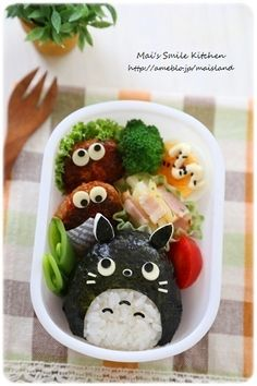 Torotoro onigiri character bento box (made from rice, nori, and cheese) Japanese Snacks, Japanese Food, Bento Recipes, Baby Food Recipes, Cute Food, Yummy Food, Kawaii Cooking, Kawaii Bento, Food Art For Kids