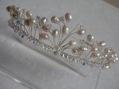 Freshwater pearl swarovski crystal bridal by LornaGreenTiaras, $100.00