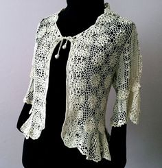 Offwhite crochet cardigan sweater  Openwork with Irish by domklary