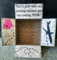 Check out this item in my Etsy shop https://www.etsy.com/listing/260798704/care-package-box-kit-you-are-coming-home