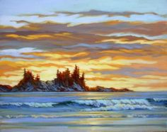 Sunset Glow, Tofino, acrylic I have lately been very attracted to painting different skies. Canadian Painters, Canadian Artists, Coastal Paint, Ocean Illustration, Amanda Jones, West Coast Trail, Watercolor Landscape Paintings, Sunset Art, Vancouver Island