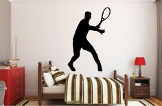 """Tennis Player Wall Decal - 41"""" x 27"""" Male Tennis Silhouette Vinyl Decal - Male Tennis Player 10"""