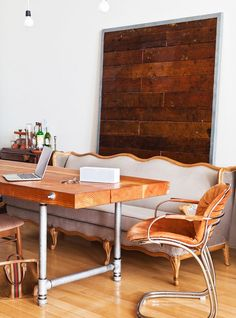 Media Mixture Soft of the Isabelle Sofa paired with industrial pipe-legged wooden table. Love the table Table And Chairs, A Table, Table Legs, Pipe Table, Dining Table, Rustic Table, Rustic Wood, Rustic Decor, Living Dining Combo