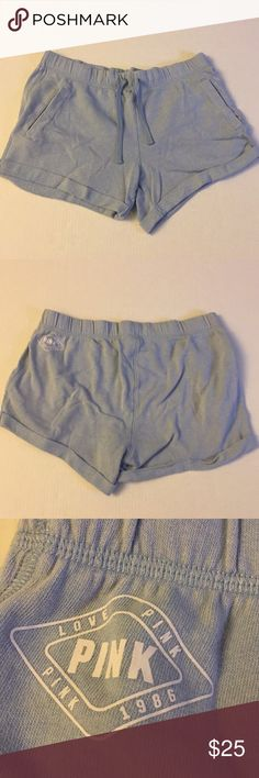 Victoria's Secret Pink-Baby Blue Shorts Victoria's Secret Pink-Baby Blue Shorts.  Some slight Pilling from Wear.  Comes from a Smoke Free/Pet Free Home PINK Victoria's Secret Shorts