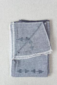 Blue Chambray Linen Throw