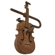 View this item and discover similar for sale at - Very charming and unusual folk art iron pad lock. Key Locksmith, French Signs, Under Lock And Key, Vintage Keys, Wood Construction, Painting On Wood, French Antiques, Violin, Folk Art