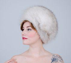 1960s vintage hat / fur hat / Blue Fox by PoppycockVintage on Etsy