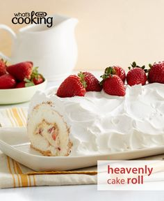 We don't call it heavenly for nothing. You can easily make this gorgeous dessert at home. Just add water to an angel food cake mix and -- Boom! Your base for this creamy strawberry-filled cake roll is done. Tap or click photo for this Heavenly Strawberry Cake Roll #recipe.