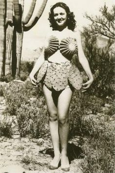 Vintage Photo: Cactus bikini from the For me, its an occupational hazard. I am often pricked by cactus. Thankfully, not in such delicate areas. Vintage Photographs, Vintage Images, Mode Bizarre, Pin Up, Photo Vintage, Le Far West, Bathing Beauties, Mode Vintage, Weird Vintage