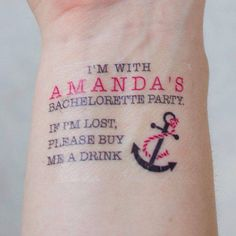 This is brilliant! Should probably add the address of the hotel on the other wrist!