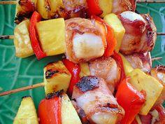 scallops bacon mango pineapple red pepper skewers