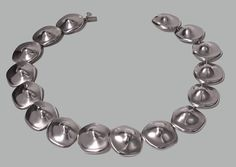 View this item and discover similar for sale at - Mexican Sterling abstract Necklace, The Necklace comprising sixteen large asymmetrical undulating `nipple' type links, plain polished sterling, Jewelry Necklaces, Jewellery, Bracelets, Mexican Jewelry, Modernism, Mid Century, Abstract, Unique, Silver