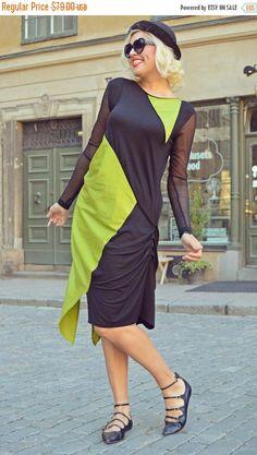BLUE SALE 30% OFF Funky Black and Green Maxi Dress / Extravagant Cotton Dress / Asymmetrical Maxi Dress / Extravagant Maxi Dress Tdk204