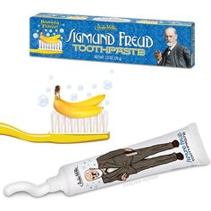 Sigmund Freud is the father of mental health, why not use him for dental health as well? Sigmund Freud Toothpaste tastes like bananas. We're not sure why we picked banana flavor, but you're welcome to analyze the decision. Sigmund Freud, Flavored Toothpaste, Life Comics, Gifts For Your Sister, Brush My Teeth, Dental Health, Saveur, Girl Humor, Crazy Cat Lady