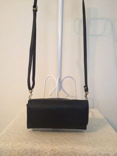 Vintage Black Leather Crossbody or Shoulder by touchofclass123
