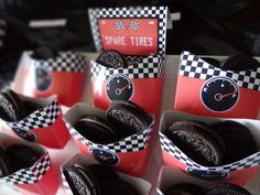 Race Cars Birthday Party Ideas Race Cars / Motorcycle Birthday Spare tires, Oreos … I was going to use mini chocolate donuts Disney Cars Party, Disney Cars Birthday, Race Car Birthday, Birthday Bash, Birthday Ideas, Car Themed Birthday Party, Go Kart Party, Race Car Party, Nascar Party