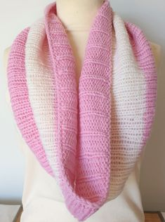 Hand knitted scarf in pink and white pure wool by Ebooksandhandmade on Etsy Hand Knit Scarf, Cold Day, Mittens, Hand Knitting, Cowl, Feminine, Warm, Pure Products, Crochet