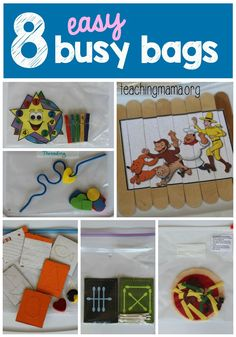 8 Easy Busy Bags - Simple to make and fun for a busy bag exchange!
