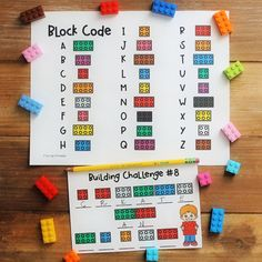 Crack the code and build! So much LEGO brick fun! Solve and Build Task Cards by Tip-Top Printables Lego Activities, Alphabet Activities, Math Projects, Projects To Try, Lego Coding, Lego Challenge, Lego For Kids, Coding For Kids, Lego Brick