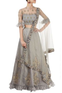 Shop Reeti Arneja - Grey lehenga set with embroidery Latest Collection Available at Aza Fashions Indian Lehenga, Red Lehenga, Lehenga Choli, Lehenga Blouse, Anarkali, Indian Wedding Outfits, Indian Outfits, Indian Attire, Indian Designer Outfits