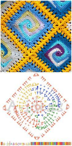 схема спирального квадрата для пледа