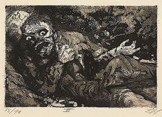 Otto Dix 'Wounded Soldier', etching ~ Dix served with the German army during WW I as a machine gunner.