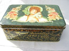 Vintage Minuet Assortment 1890 Hinged Tin Designed by Daher Woman Flower England
