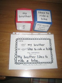 Fun game for learning to write a complete sentence. Identifies subject and predicate.  are they teaching subjects and predicates in kindergarten.  i've been out of the classroom too long, evidently.