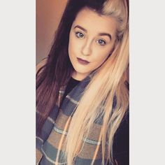 WEBSTA @ boydeyyxx - #hair #halfandhalfhair #blonde #brunette #makeup #matte #lips #selfie #follow