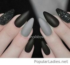 Matte nails with black and grey