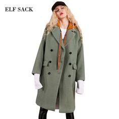 d2263ab9c74c1 ELF SACK 29.1% Wool Coats Women Winter Hooded Fake Two Pieces Womens Long  Coats  fashion  women  trends  moda  coats