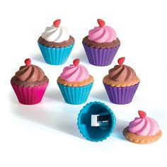 Cupcake Shoppe Scented Eraser and Sharpener - Scents: vanilla, strawberry, chocolate
