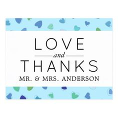 Thank You - Love Romance Hearts - Blue Green Postcard - postcard post card postcards unique diy cyo customize personalize