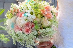 Lovely soft pink, green, and blue bouquet, see more: theeverylastdetail.com