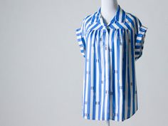 Fun, Light, Vintage Blouse- Perfect for Spring & Summer. Blue and White Stripes, Dark Blue Accents on Etsy, $20.00
