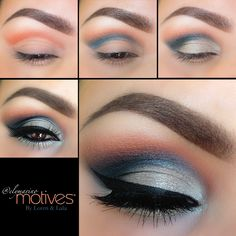 Get the Look with Motives #elymarino  1. Apply lightest shade on brow bone, and add orange shade above crease 2. Apply blue shade in crease and blend 3. Apply silver on lid keeping underneath crease 4. Take Onyx eyeshadow and apply in outer corner and slightly in crease  5. Line your eyes with Little black Dress gel liner 6. For some shimmer, add Vogue paint pot underneath lower lash