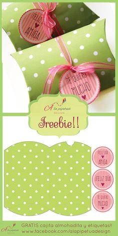 IMPRIMIBLE GRATIS -  Bellísima cajita almohadita y etiquetas. Descargalos desde www.alapipetuadesign.com  Freebies!!
